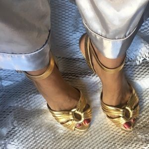 Louboutin Gold Ankle Strap Heel